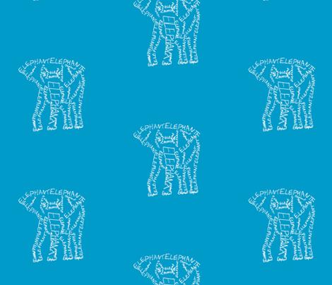 Elephant Calligram White on Blue fabric by blue_jacaranda on Spoonflower - custom fabric