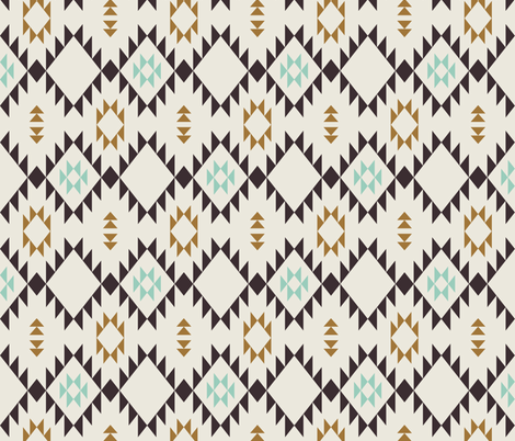 Navajo - Golden Brown Mint (vertical) fabric by kimsa on Spoonflower - custom fabric