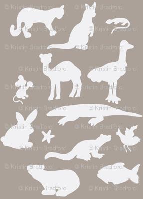Animals Around the World in Grey and White