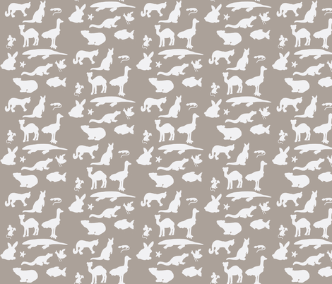 Animals Around the World in Grey and White fabric by kbexquisites on Spoonflower - custom fabric