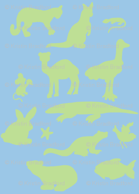Animals Around the World in Blue and Green