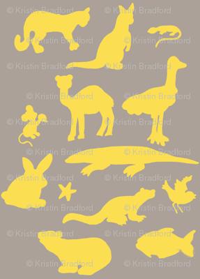 Animals Around the World in Grey and Yellow