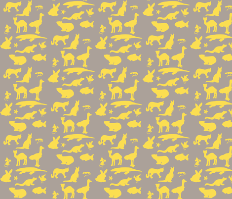 Animals Around the World in Grey and Yellow fabric by kbexquisites on Spoonflower - custom fabric