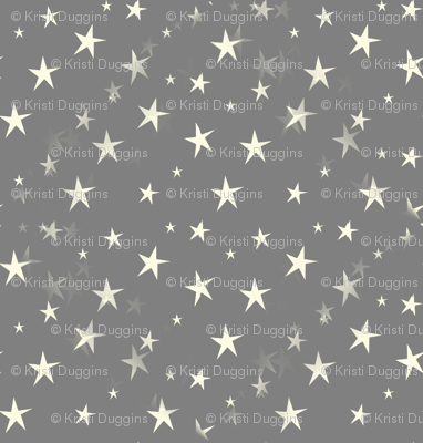 Pale Yellow Stars on Grey Starfield