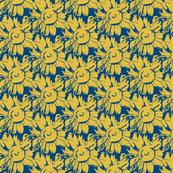 yellow, blue sunflower