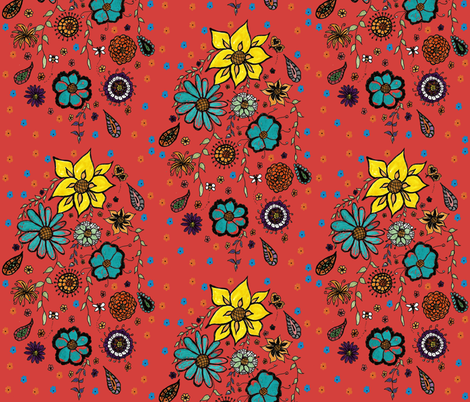 Falling Flowers Coral fabric by kickyc on Spoonflower - custom fabric