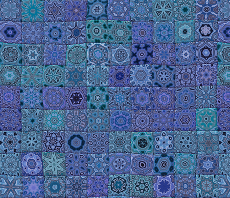 Quilt - Floral - Blue fabric by bonnie_phantasm on Spoonflower - custom fabric