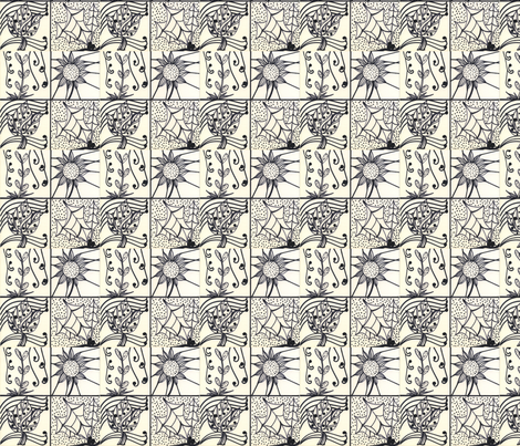 blk/wht flowers fabric by pink_finch on Spoonflower - custom fabric