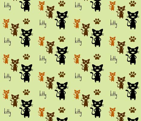 kitty 2 fabric by zippyartist on Spoonflower - custom fabric