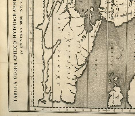 A. Kircher's World Map fabric by azizakadyri on Spoonflower - custom fabric