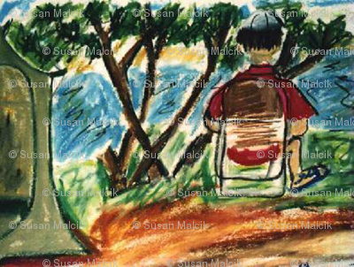 Ed Reading a Book at Camp Site