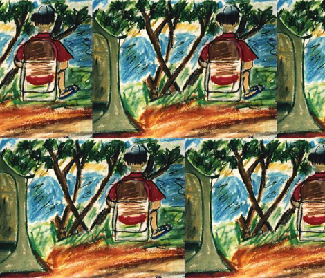 Ed Reading a Book at Camp Site fabric by susaninparis on Spoonflower - custom fabric