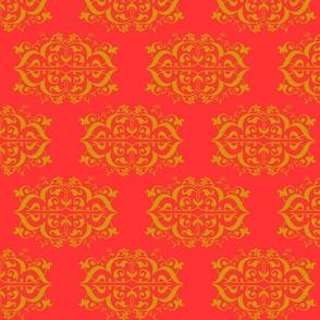Coral and Gold Fleur de Lis