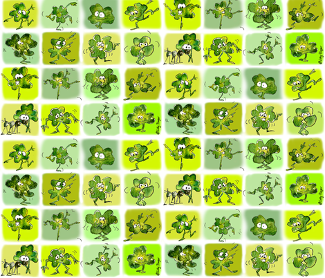15 Cute Funny Irish Shamrocks Dancing fabric by lillyarts on Spoonflower - custom fabric