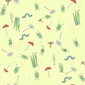 benjabug ditsy on yellow