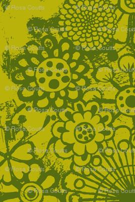 big blousey flowers, mustard/green