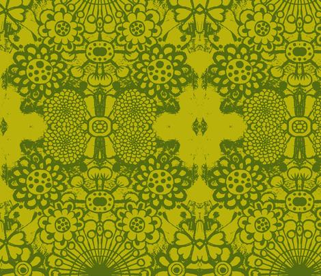big blousey flowers, mustard/green fabric by eat_my_sweet_dust on Spoonflower - custom fabric