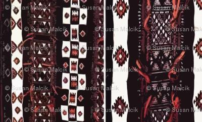 Mali Blanket - black and orange-large