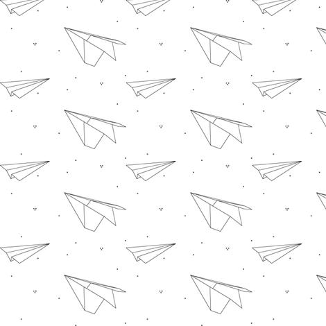 avion_de_papier_2 fabric by nkt on Spoonflower - custom fabric