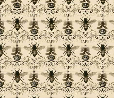 Bee Happy Fabric fabric by briarwood on Spoonflower - custom fabric