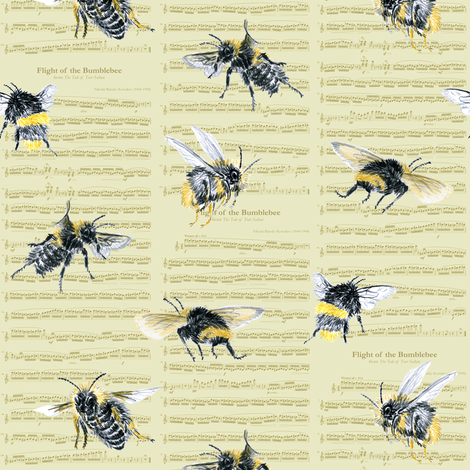 flight of the bumblebee - small gold  fabric by weavingmajor on Spoonflower - custom fabric