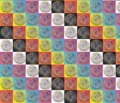 """The Rainbow IS The Pot of Gold"" MOD Chequerboard fabric by madaboutcolour on Spoonflower - custom fabric"