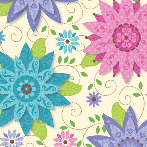 Patterned Flowers fabric by wrapartist on Spoonflower - custom fabric