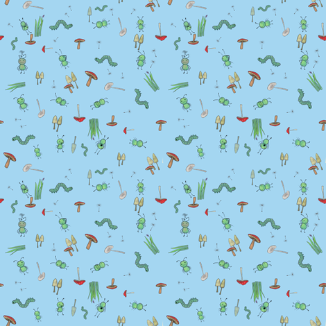 ditsy on blue fabric by glindabunny on Spoonflower - custom fabric
