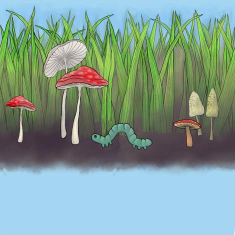 inchworm_mushrooms_and_grass fabric by glindabunny on Spoonflower - custom fabric
