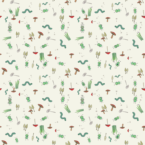 ditsy_cream fabric by glindabunny on Spoonflower - custom fabric