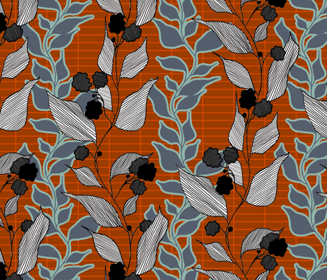 lined_leaves_2 fabric by lauradejong on Spoonflower - custom fabric