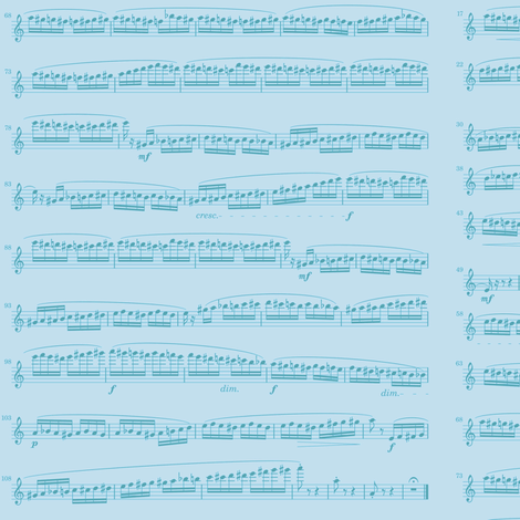 sheet music blue - flight of the bumblebee fabric by weavingmajor on Spoonflower - custom fabric