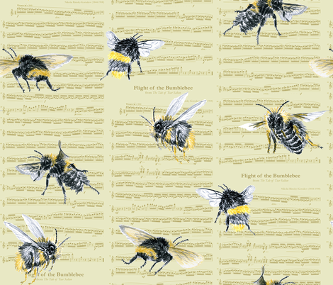 flight of the bumblebee - large gold fabric by weavingmajor on Spoonflower - custom fabric