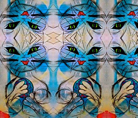 Cosmic Cat fabric by tetkaart on Spoonflower - custom fabric