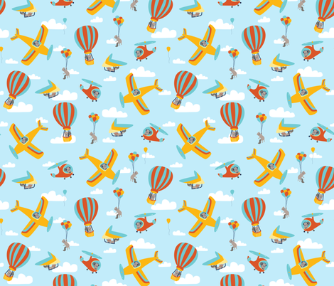 flying squirrels on light blue fabric by bubbledog on Spoonflower - custom fabric