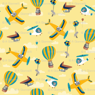 flying squirrels on yellow
