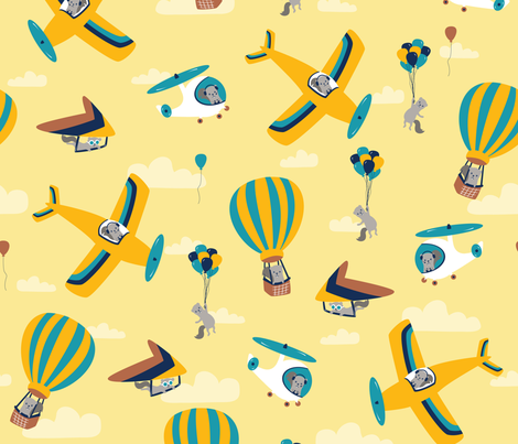 flying squirrels on yellow fabric by bubbledog on Spoonflower - custom fabric