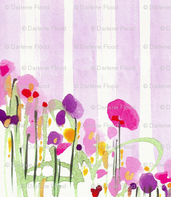 STRIPES AND FLOWERS  in LILAC