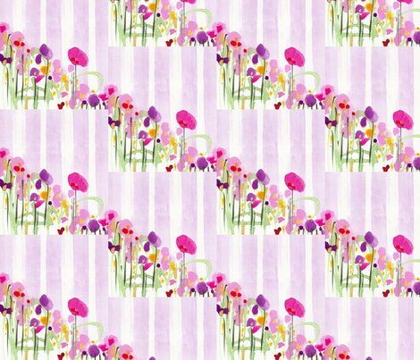 STRIPES AND FLOWERS  in LILAC fabric by darlene_flood on Spoonflower - custom fabric