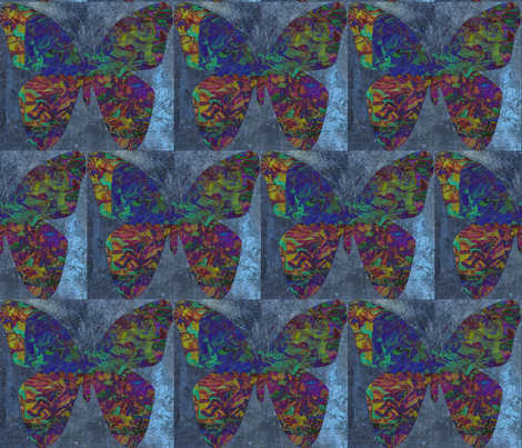 Iridescent Butterfly in Blue in a Half-Brick Repeat fabric by anniedeb on Spoonflower - custom fabric
