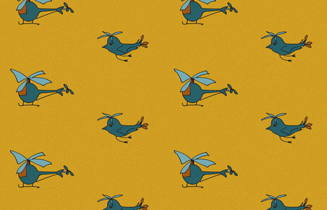 heliandbirds_yellow fabric by art_for_happiness on Spoonflower - custom fabric