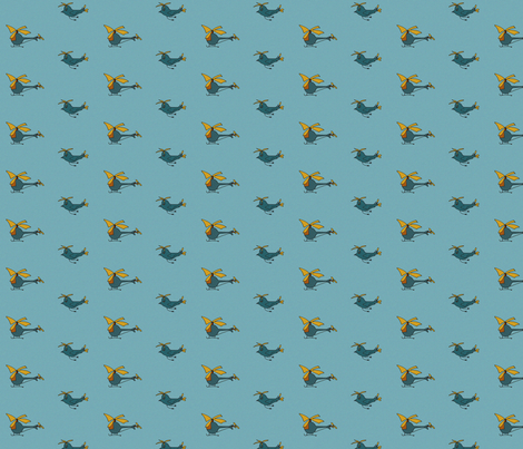 heliandbirds_blue fabric by blumenlimonade on Spoonflower - custom fabric