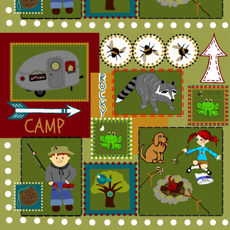 At Camp Funday / camp patch fabric by paragonstudios on Spoonflower - custom fabric