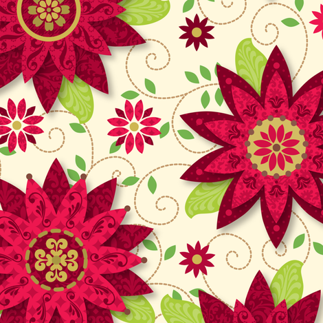 Patterned Poinsettias fabric by wrapartist on Spoonflower - custom fabric
