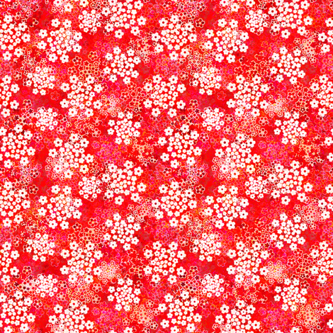 Verbena red floral fabric by joanmclemore on Spoonflower - custom fabric