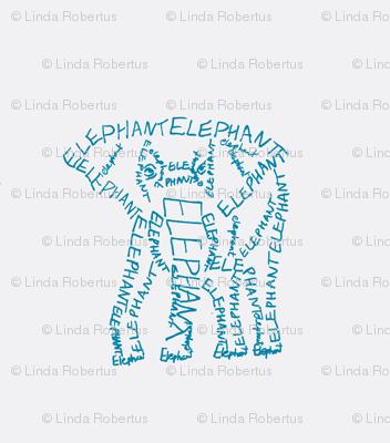 Elephant Calligram Blue on White