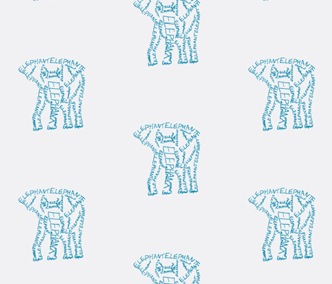 Elephant Calligram Blue on White fabric by blue_jacaranda on Spoonflower - custom fabric