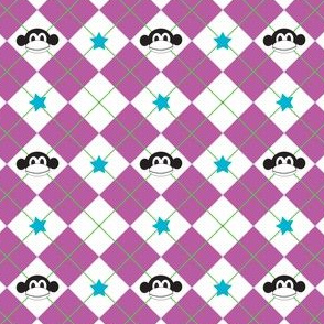 Purple Argyle Monkey Print