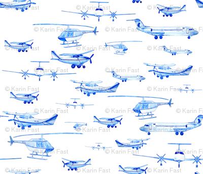 blue planes white