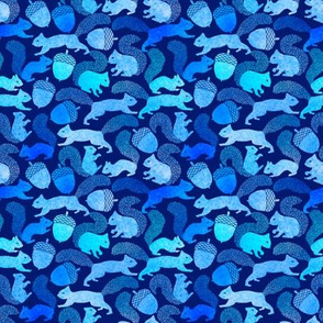 Squirrels and Acorns in blues